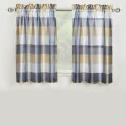 Grey Kitchen Curtains Mystic Plaid Kitchen Window Curtain Tier Pair And Valance In Grey Contemporary Valances By