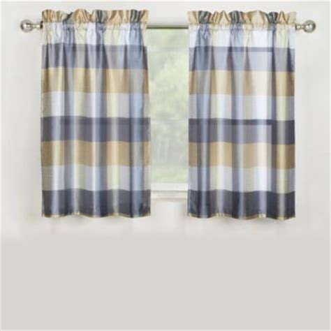 mystic plaid kitchen window curtain tier pair and valance