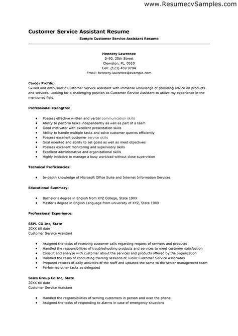 Exles Of Resumes For Customer Service by Resume Skills Exles Customer Service Resume Resume Skills And Sle Resume