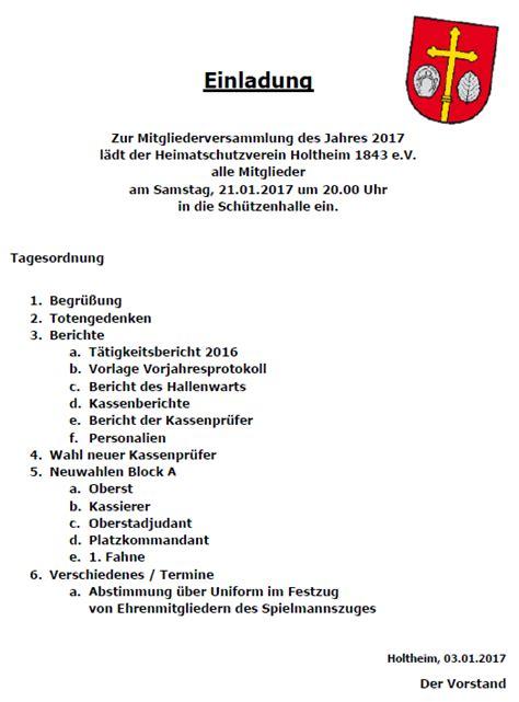 Muster Einladung Zur Jahreshauptversammlung Gemeinde Holtheim 33165 Lichtenau Kreis Paderborn Heimatschutzverein
