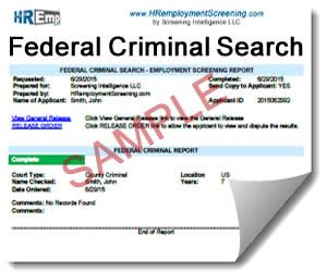 Federal Records Search Background Investigation County Arrest Records