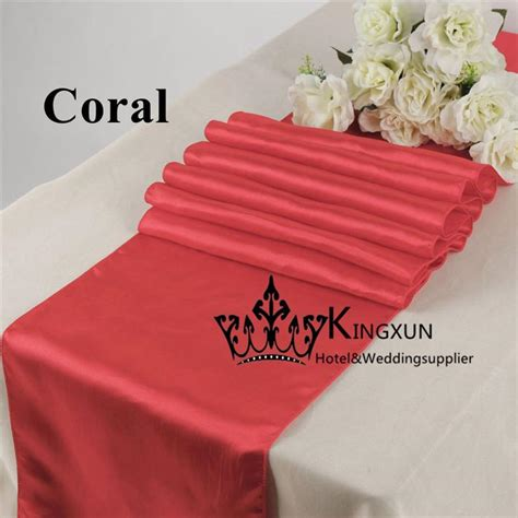 cheap coral table runners cheap price coral color satin table runner table linen