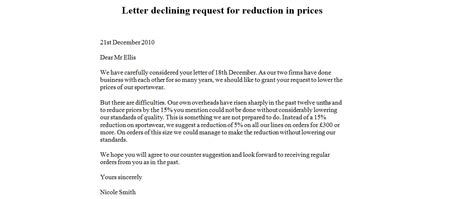 Decline Letter For Quotation Letter Declining Request For Reduction In Price Business