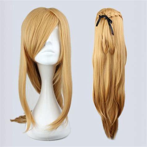 anime ribbon hairstyles sword art online asuna yuuki cosplay 90cm long anime wig