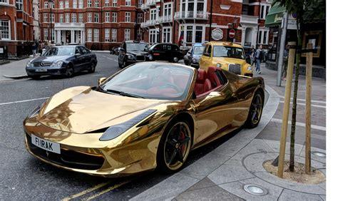gold ferrari 458 ferrari 458 spider wrapped in gold belonging to