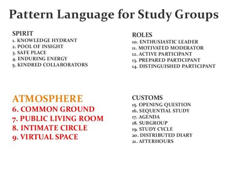 A Pattern Language For Study Groups | 스터디그룹 패턴 a pattern language for study groups