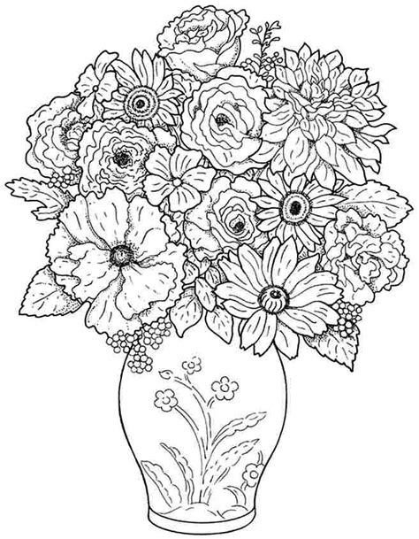 9 Best Images Of Bouquet Of Flowers Printable Flower Flower Bouquet Coloring Pages
