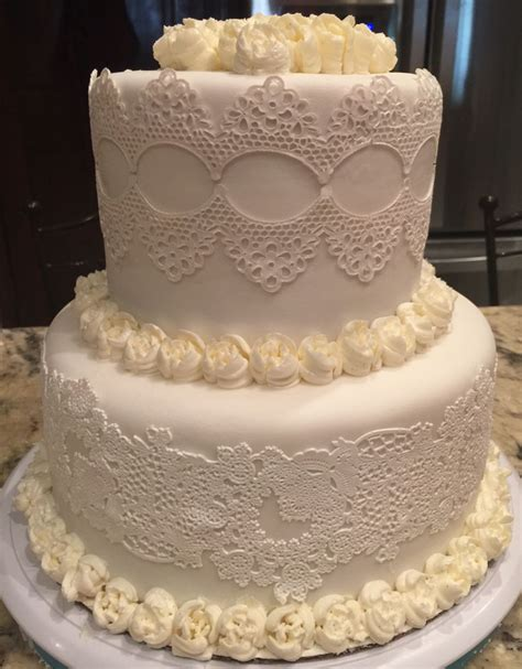 Wedding Cake Edible Lace by White On White Edible Lace Wedding Cake Cakecentral