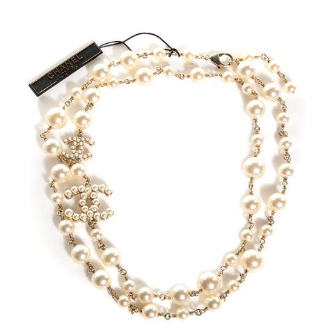 chanel pearl cc necklace gold 99020