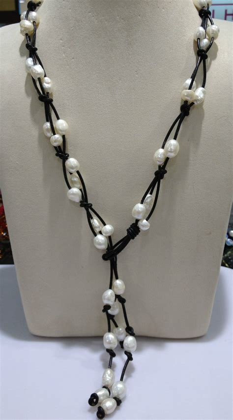 The Baroque Frame Necklace Versailles On A Chain by Baroque Freshwater Pearl Necklace With Leather Casual