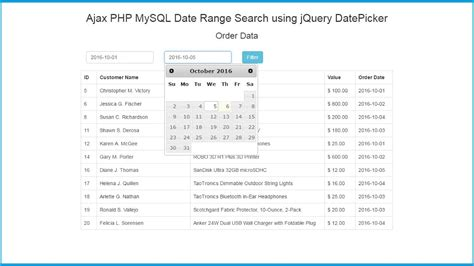 mysql format date as string ajax php mysql date range search using jquery datepicker