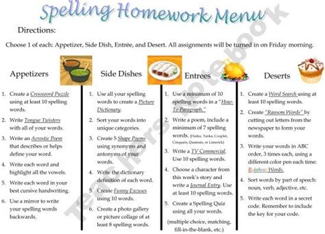 learning menu template 17 best ideas about spelling homework on