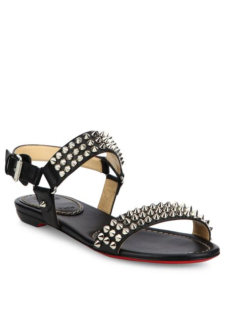 christian louboutin sandals christian louboutin bikee bike spiked leather flat sandals