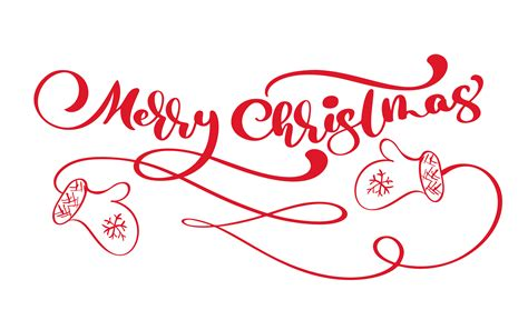 red merry christmas vintage calligraphy lettering vector text  winter drawing scandinavian