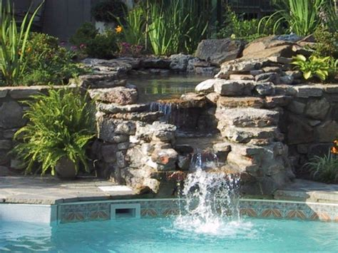 pool waterfall ideas two tiered pool waterfall ideas