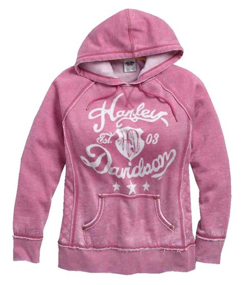pink pattern hoodie harley davidson women s quilted side panel pullover hoodie