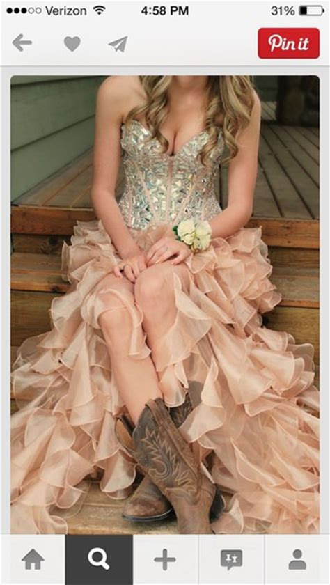 dress prom dress pink country country dress boots - Country Style Prom Dresses