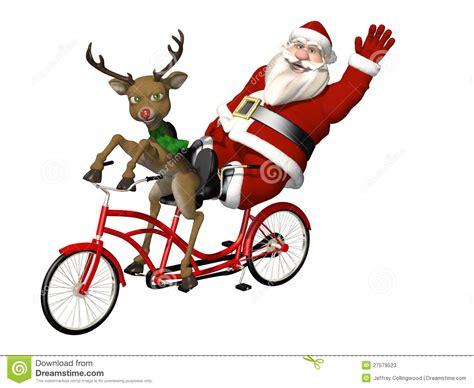 imagenes de santa claus en bicicleta santa y reno bicicleta construida para dos stock de
