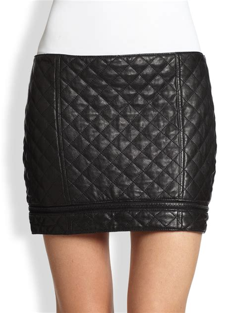 haute hippie quilted leather zip mini skirt in black lyst