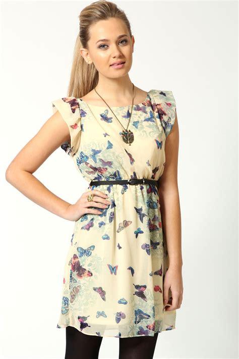 pattern dress boohoo boohoo tracey butterfly print belted skater dress ebay