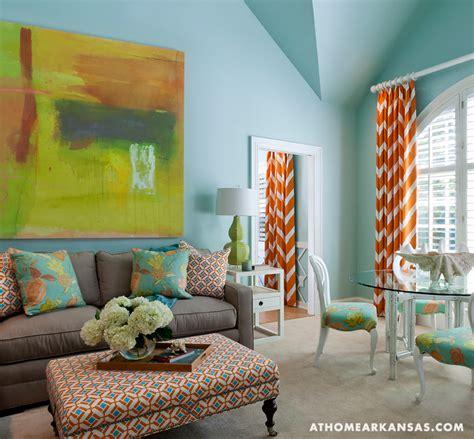 Orange chevron curtains contemporary living room at home in arkansas