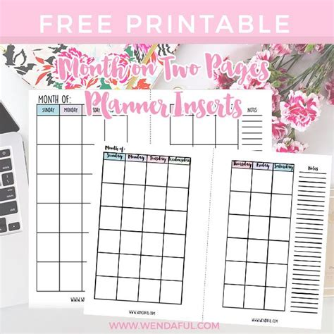 free 2016 personal planner printable free undated month on two pages planner inserts wendaful