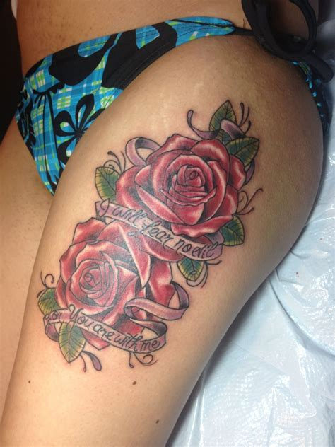 evil rose tattoo thigh quot i will fear no evil for you are with me