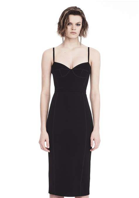 Dress 101525580 Black Official wang sleeveless fitted midi dress 3 4 length dress official site