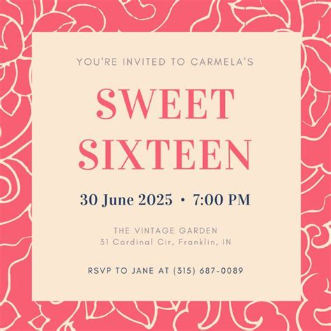 sweet 16 invitation card templates customize 545 sweet 16 invitation templates canva