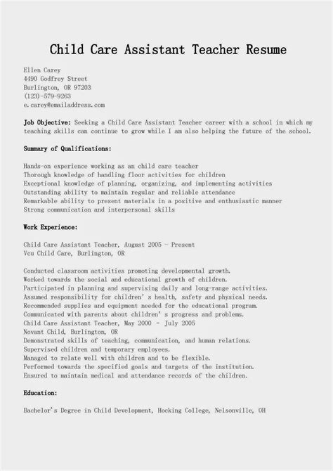 child care assistant resume exle resume sles child care assistant resume sle