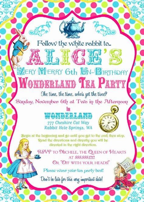 alice in wonderland invitation birthday tea party