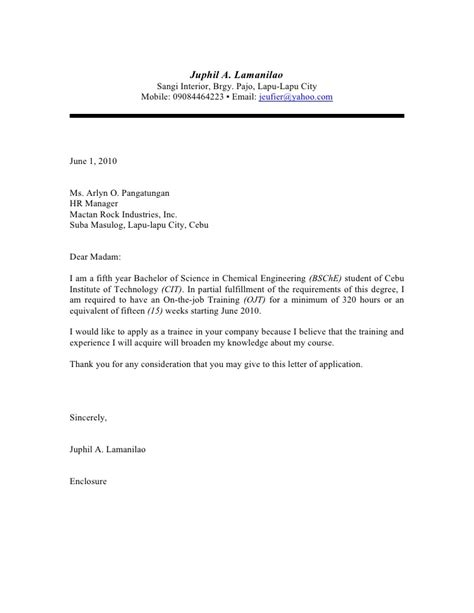 application letter for ojt engineering map application letter sle