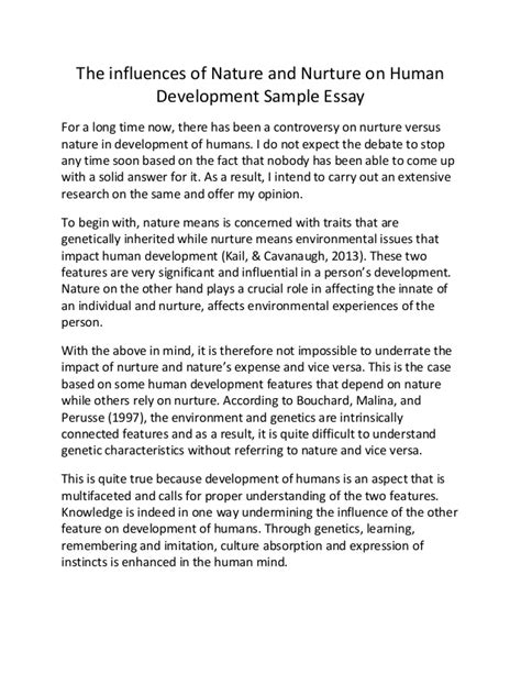 Human Nature Essay by The Influences Of Nature And Nurture On Human Development Sle Essay