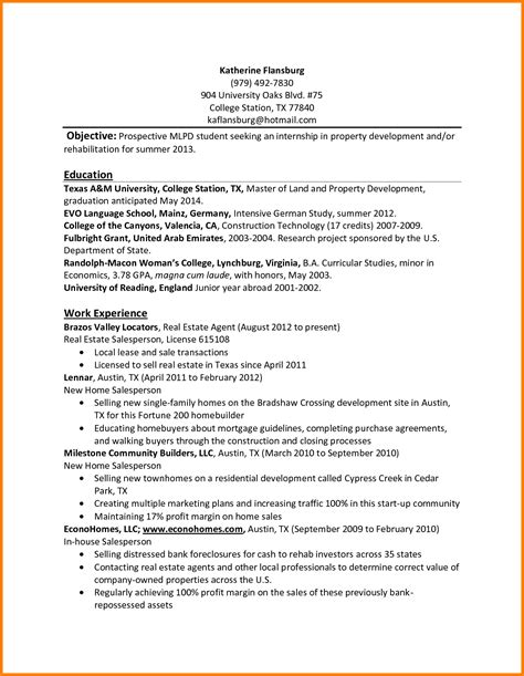 resume sles for internships for college students 5 college student resume template for internship