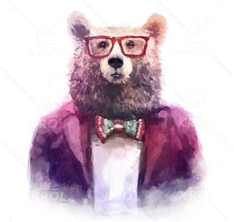 imagenes de ositos hipster watercolor hipster animals by krol on creative market