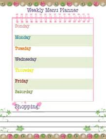 free printable menu templates for free printable weekly dinner planner template calendar