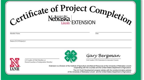 Project Completion Certificates Available 4 H Lancaster County University Of Nebraska Lincoln Parenting Class Certificate Of Completion Template