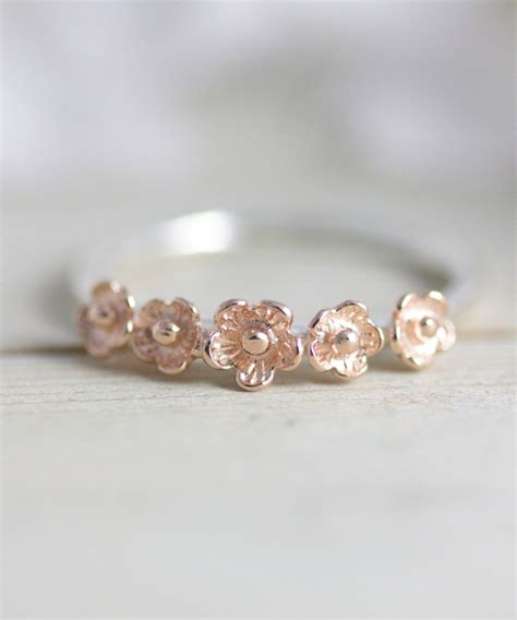 ring gold flower ring gold jewelry flower