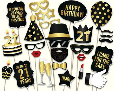 Printable Photo Booth Props For 21st Birthday | 21st birthday photo booth props printable pdf black by