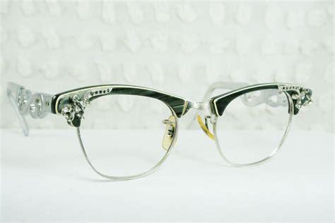 50s cat eye glasses 1960 s rhinestone eyeglasses by diaeyewear