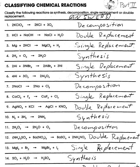 Chemical Reaction Worksheet Answers by Balancing Chemical Equations Worksheet Doc