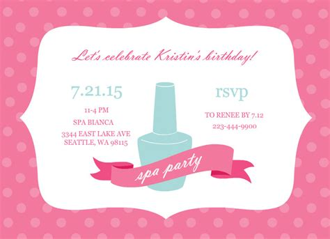 spa birthday invitation template spa invitation template invitation template