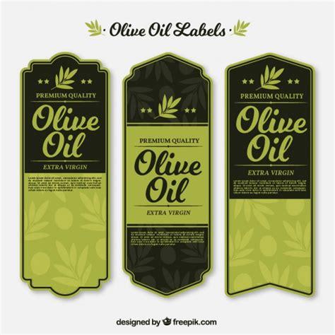Vintage Olive Oil Labels In Green Tones Vector Free Download Olive Labels Templates
