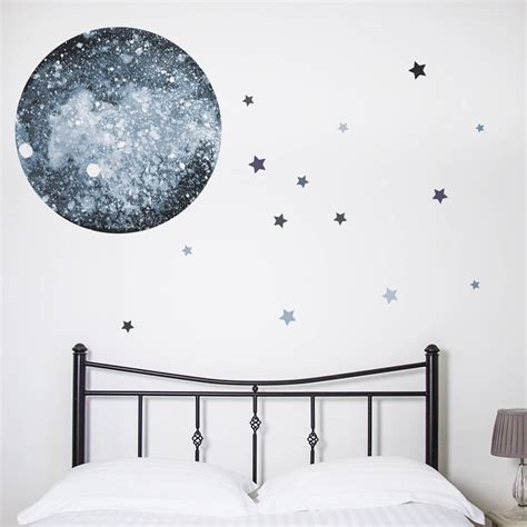 moon and wall stickers watercolour moon and wall sticker by nutmeg