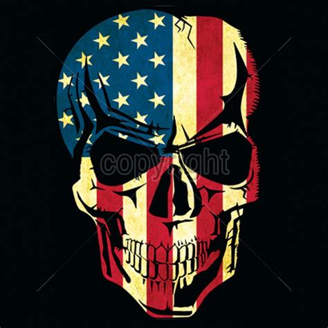 patriotic skull american flag t shirt old glory small to