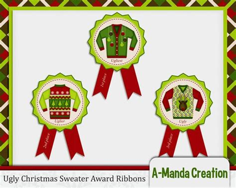 ugly christmas sweater party awards ribbons 1st by