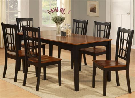 nicoli 7pc set with rectangular dining table and 6 wood