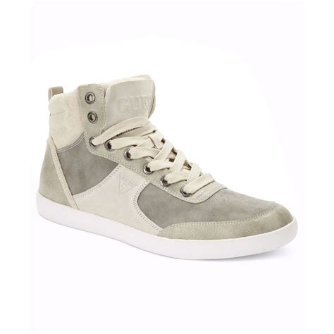guess sneakers mens guess mens shoes jefferson hi top sneakers in gray for