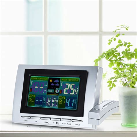 indoor outdoor wireless weather station clock lcd digital