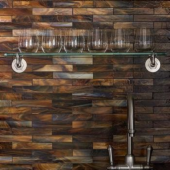 copper glass tile backsplash living room bar nook with copper mosaic tile